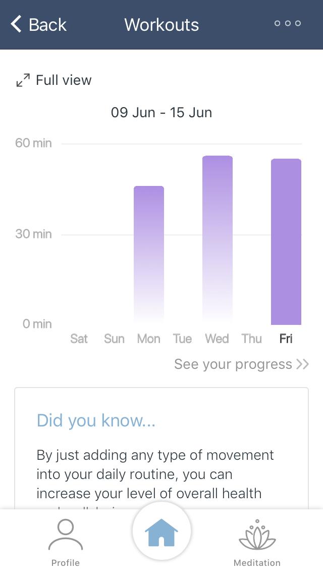 Workouts info in app