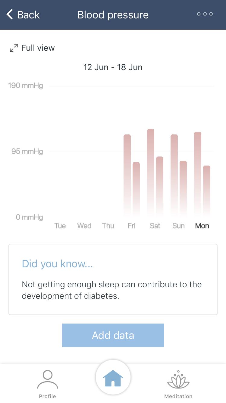 Blood pressure in app