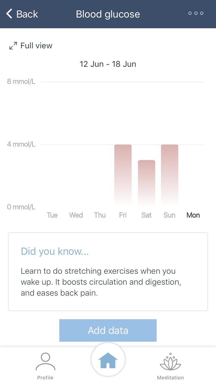 Blood Glucose in App