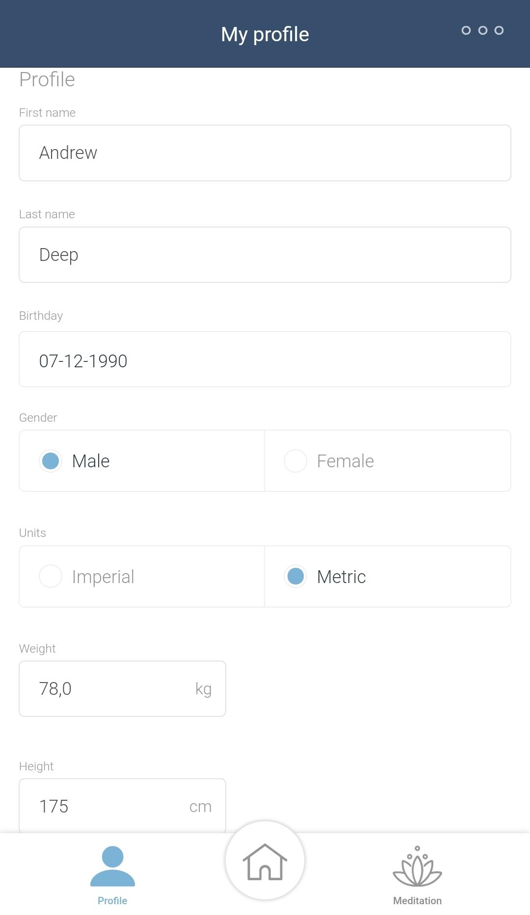 My profil in app